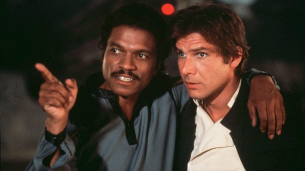 Billy Dee Williams and Harrison Ford as Lando Calrissian and Han Solo in Star Wars